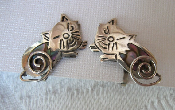 Vintage Taxco Sterling Cat Winking Earrings Signed TRM 3 in Bell Alpaca 925 Feline Delight Coiling Tails
