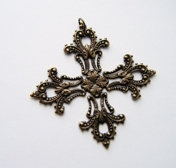 1 - Maltese Filigree Cross Antique Ox Brass With Jumpring - Jewelry Findings (C)