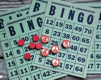 Vintage Bingo Shabby Faded Green Bingo Cards Scrapbook Embellishments Assemblage Altered Art