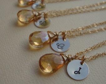 Five (5) Personalized Bridesmaids Bracelets Adjustable Hand Stamped Letter  Gold Filled- Bridal Gift, Bridesmaids Favors, Wedding Bracelet