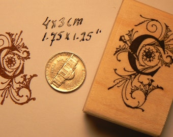P41 Monogram, Decorative Letter C Rubber Stamp WM