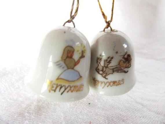 Vintage 1950s Porcelain Christmas Bell Ornaments