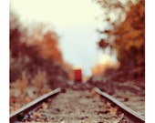 Landscape Photography, Train Song, 5x7 Print, Rustic Autumn Photograph, Travel Photo, Railroad Tracks, Fall Colors - ellemoss