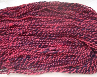 Handspun merino yarn - fun bullion spun pink dark navy