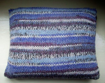 Throw pillow cushion cover hand knit chunky blue purple gray heather striped