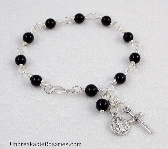St. Benedict Rosary Bracelet in Black Onyx Stones