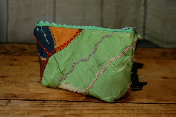 READY TO SHIP  antique crazy quilt zip purse