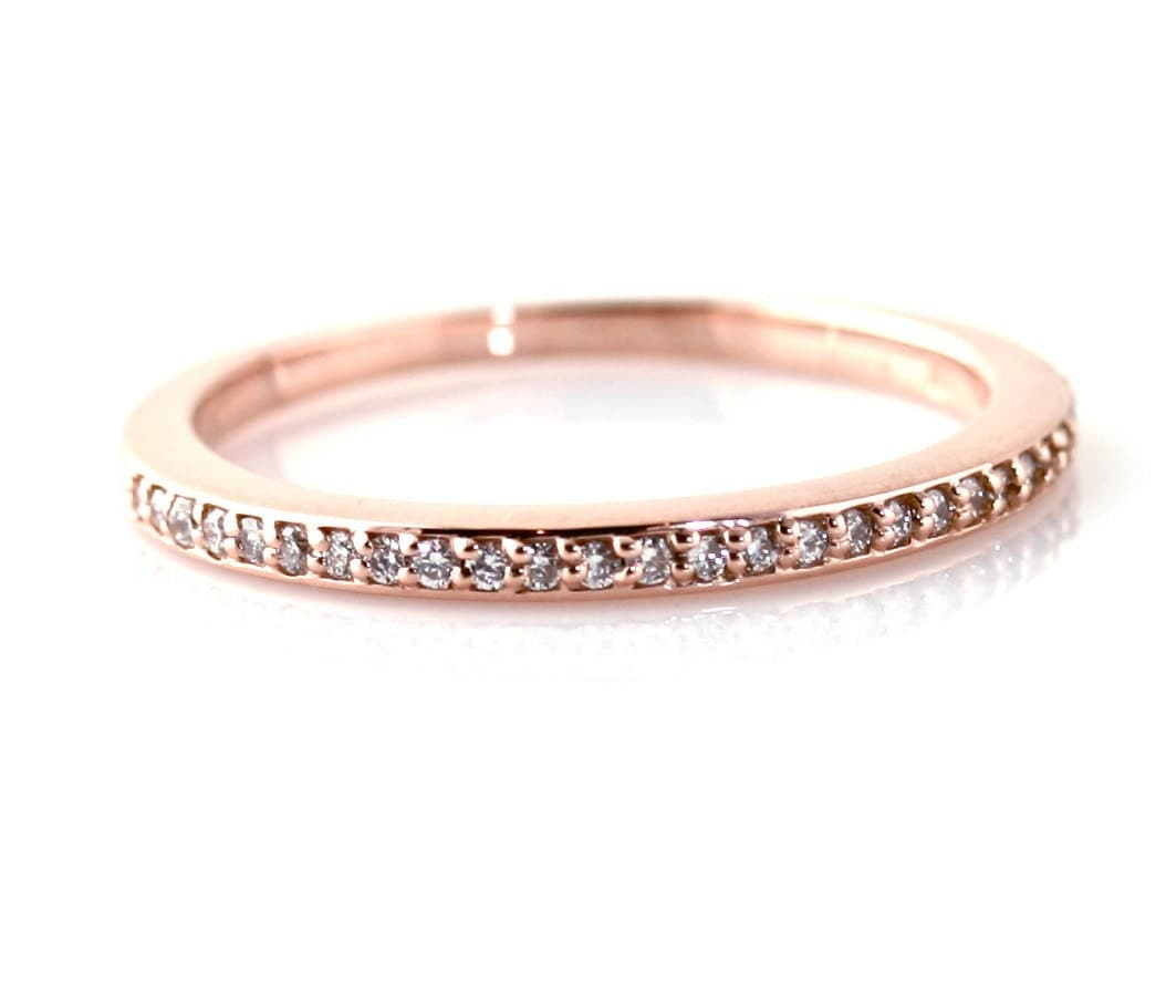 14K Rose Gold Diamond Ring Wedding Band Anniversary By RareEarth