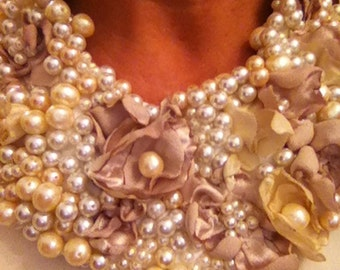 Bib necklace, Pearl and flower design