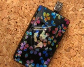 Dichroic Flower Pendant, Fused Glass Pendant, Rainbow Cherry Blossoms, Dichroic Jewelry, Fused Glass Jewelry