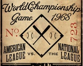 Vintage Detroit Baseball Ticket graphic artwork on canvas by stephen fowler CUSTOMIZE it