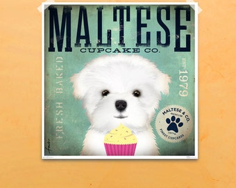 Maltese Cupcake Company graphic artwork original illustration signed archival artists print giclee