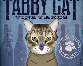 Tabby Cat Wine Company graphic artwork on canvas original 10 x 10 inches by stephen fowler