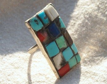 Turquoise Coral  Bone,Mosaic Ring Hand Wrought Biker Art Jewelry OOAK and unique