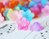30 Pc 6x12mm Frosted Short Bell Flower Beads