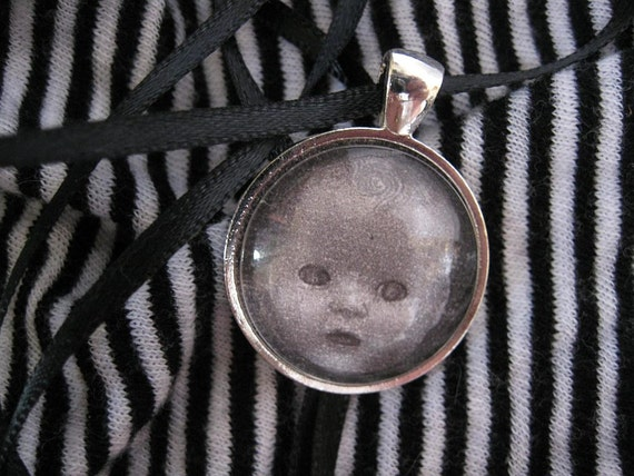Halloween jewelry Creepy vintage doll necklace Pendant Silver circle babydoll photograph