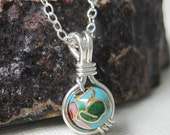 Turquoise Blue Cloisonne O Loop Pendant Necklace in Sterling Silver