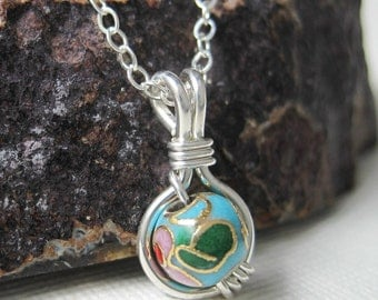 Cloisonne O Loop Pendant Necklace in Sterling Silver - Other Colors Available