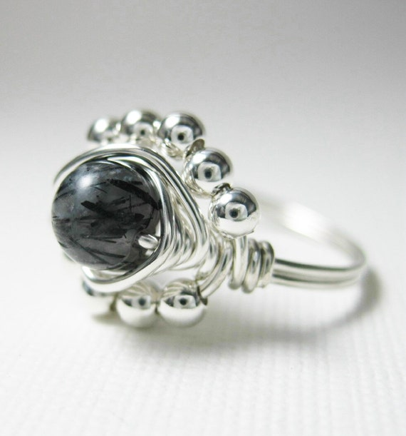 Black Rutilated Quartz Ring - Wire Wrapped Ring - Sterling Silver - Princess Cocktail Ring