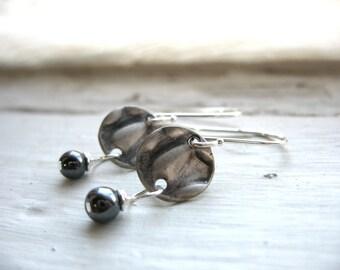 Hematite Earrings, Metalwork Dangle Drop Earrings, Black Hematite Stone Textured Silver Disc Earrings