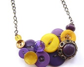 Button Necklace in Mustard Yellow and Violet Purples