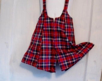 Child's  Plaid Shorts with Suspenders size 6 Vintage Shorts