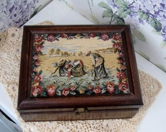 Vintage Wooden Box - Jewelry box with Tapestry top