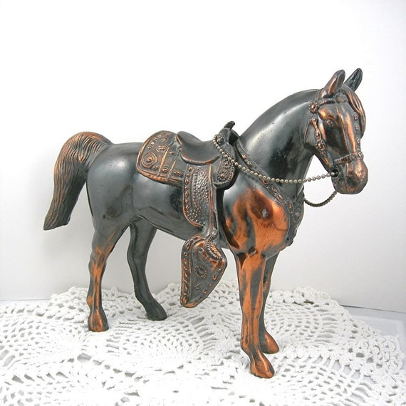 "Vintage Metal Carnival Horse Large 7-3/4"" Tall Circa 1950s Copper Plate with Removeable Saddle Western Cowboy Southwest"