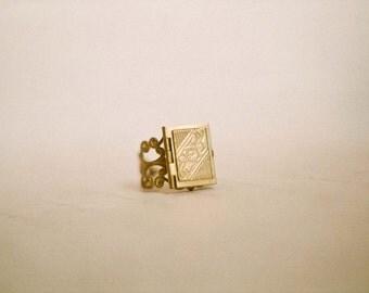 My favorite book - little book locket ring in golden brass. Gift for a book nerd, student, teacher, librarian