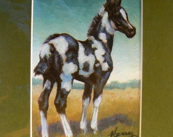 Painted Foal horses giclee print in 8x10 mat equine art by Kerry Nelson