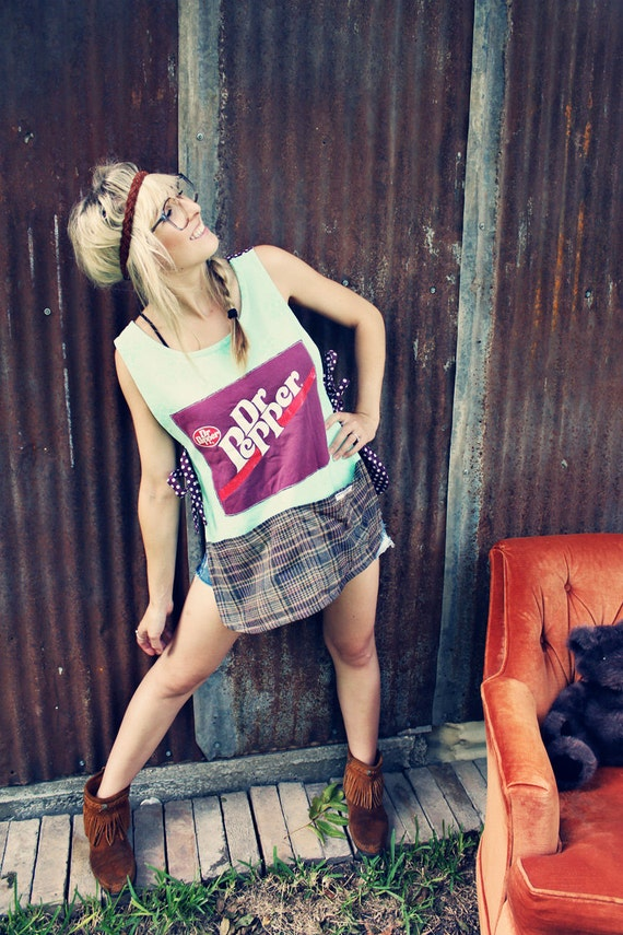 Poor Pitiful Pearl Dr.Pepper Patchwork Smock