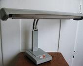 SALE...Shed a Little Light On the Subject... Vintage Adjustable Industrial Gray Metal Desk Lamp Light