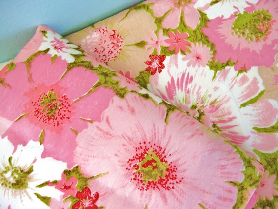 RESERVED...Raising the Curtain... Vintage Pink Blooming Flower Curtain Drape Panels Curtains