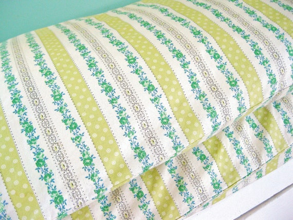 DREAMING...  Vintage Pair of Green Floral Ticking Pillowcases Pillow Cases With Metal Zippers