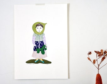 autumnal fruit gocco hand screen print - Fig Girl