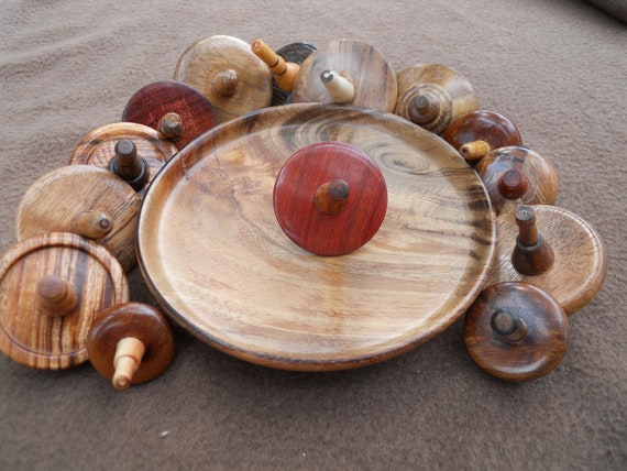 Fourteen Handcrafted Wood Spinning Tops Exotic Woods