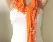 Orange, Mandarin  Cotton Scarf with three roses and tassel Lace