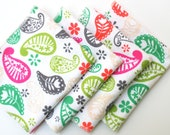 FREE OFFER Child Reusable Cloth Napkins / Wipes- Set of 4- Paisley Garden