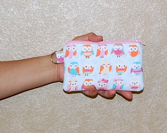 Retro Owls - iPhone 6s, iPhone 6, iPhone 5, iPhone 4, Samsung Galaxy S5/S6 - Cell Phone Gadget Zipper Pouch / Coin Purse