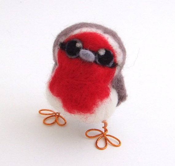 Needle Felted Bird Red Breasted Robin Baby Tweet