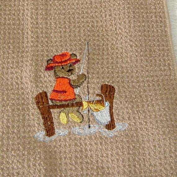 Fishing Teddy Bear Embroidered Tea /Dish Towel