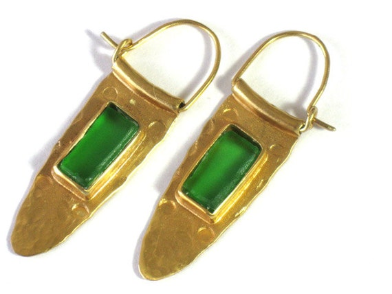 Sea Glass Hoop Earrings, Gold Sea Glass Hoops, Statement Earrings, Green Beachglass Hoops, Artisan Handmade Jewelry