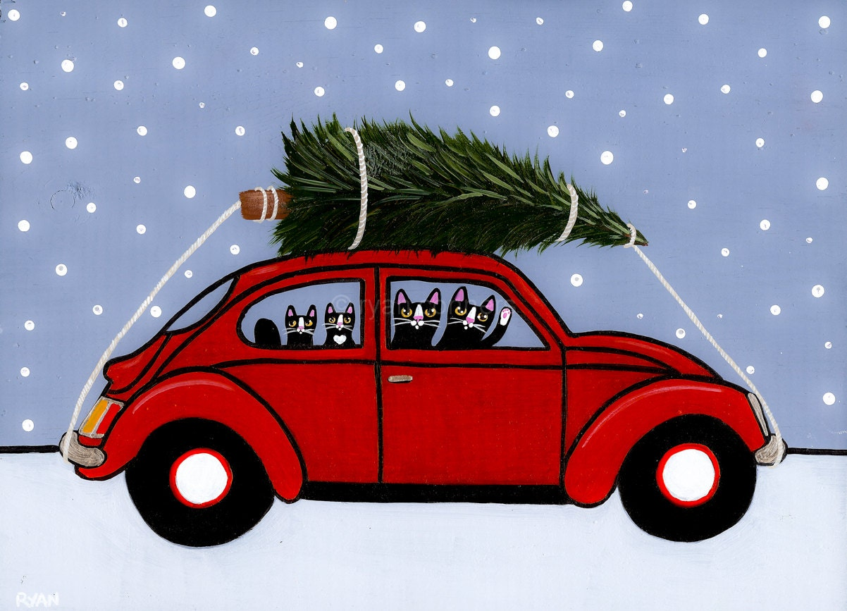 red vw bug christmas cats original folk art painting. Black Bedroom Furniture Sets. Home Design Ideas