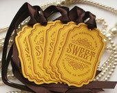 Bachelorette Party Candy Sweet Tags - Yellow and Brown - Buffet Table or Wedding Favor Tags, Party Tags SET of 5 - Code S11 - amaretto