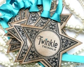 Christmas Gift Tag Twinkle Stars - Vintage Style - Turquoise Glitter - Set of 10