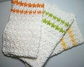 Crocheted Dishcloths, Citrus Stripes set of 3