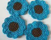 Coasters or Face Scrubbies, Set of 4 brown and bold blue