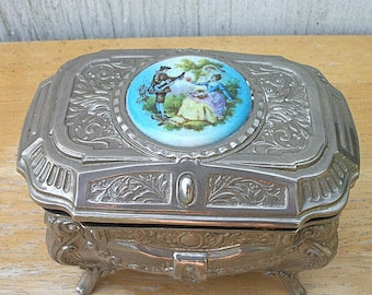 Vintage Silver Toned Jewellery Casket, Jewellery Box
