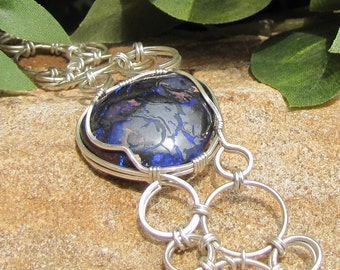 Deep Purple-Blue Opal and Chain Maille Bracelet - Sterling