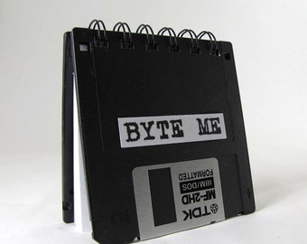 Geek Gear Recycled Blank Floppy Disk Mini Notebook in Color or Black Byte Me
